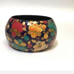 Amazing Vintage Wooden Floral Handmade Bracelet